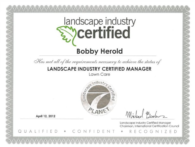 Lawn Care certified